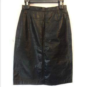 Wilson Leather Black Leather Pencil Skirt